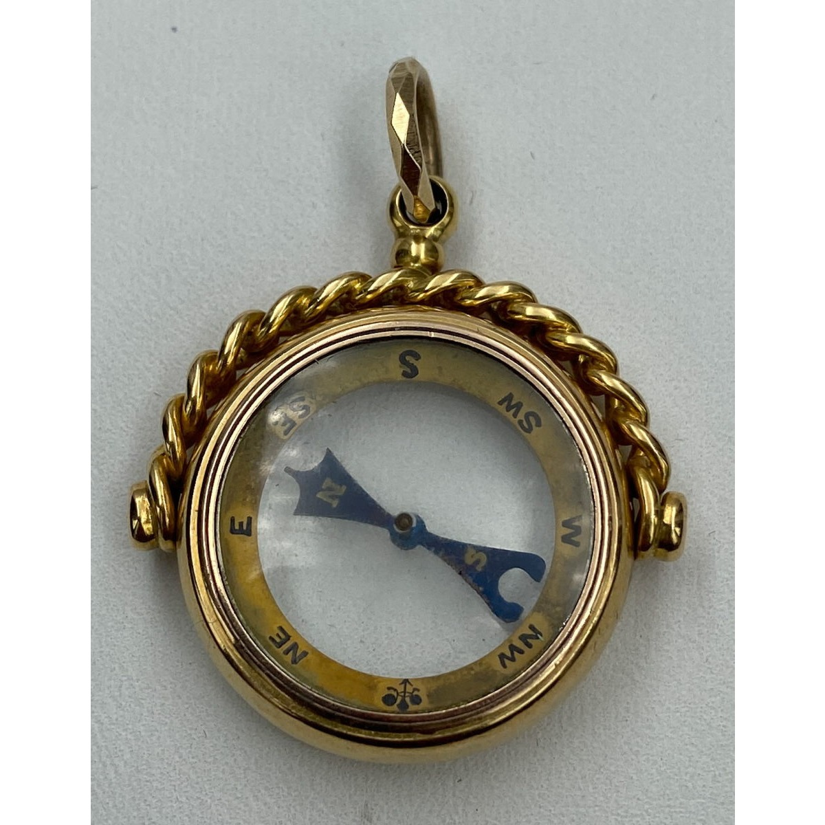 Stunning Large, Bold 15 karat Gold Antique Compass Watch Fob