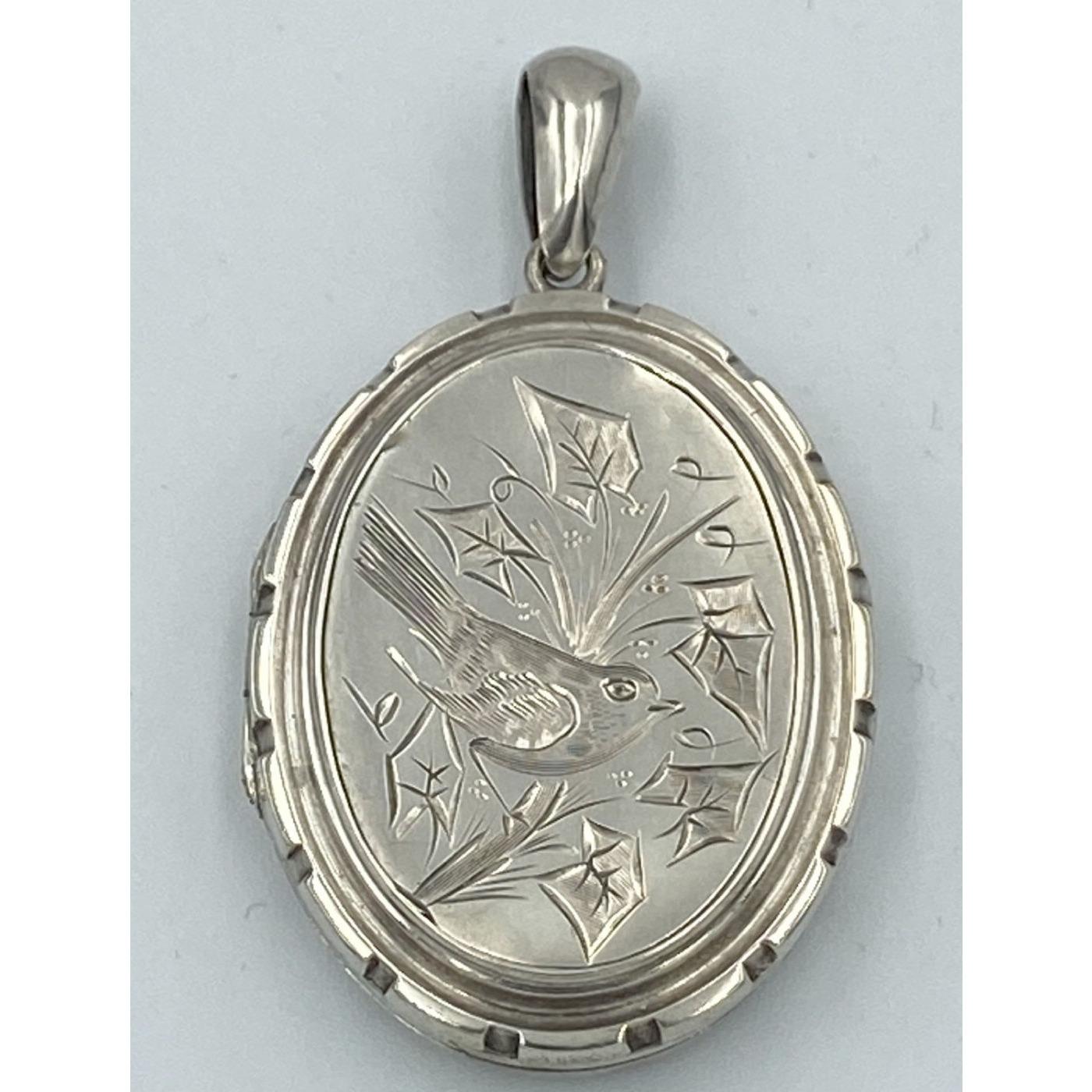 Wonderful Bird Aesthetic Antique English Silver Locket