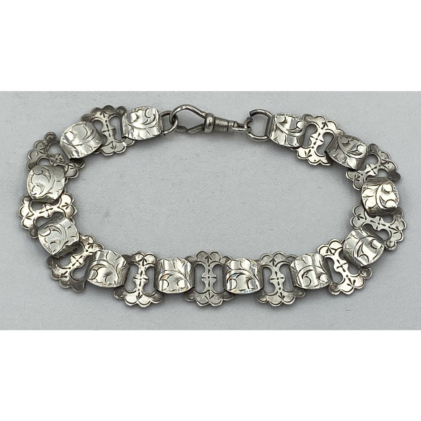 Exquisite Floral Engraved Victorian English Silver Link Bracelet