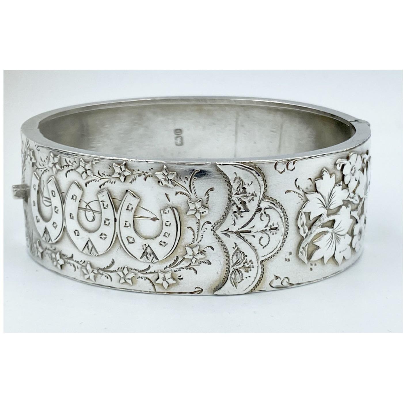 Extraordinary Horseshoe Floral English Silver Bangle