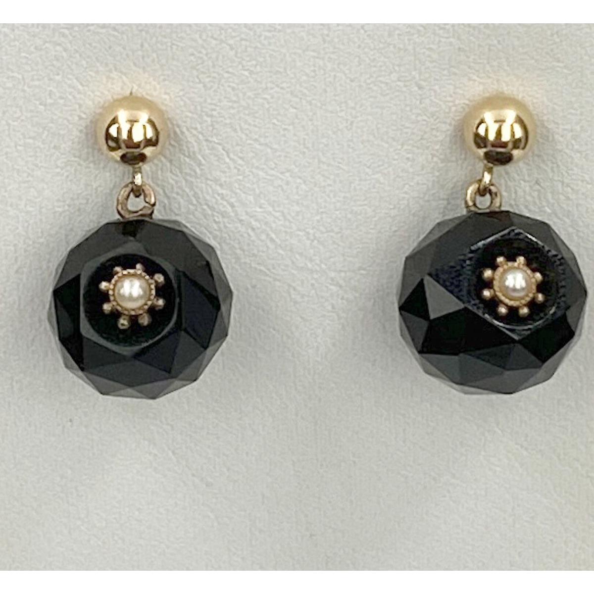 Black Jet Faceted Ball Antique Earrings with Seed Pearls and 15kt Highlights