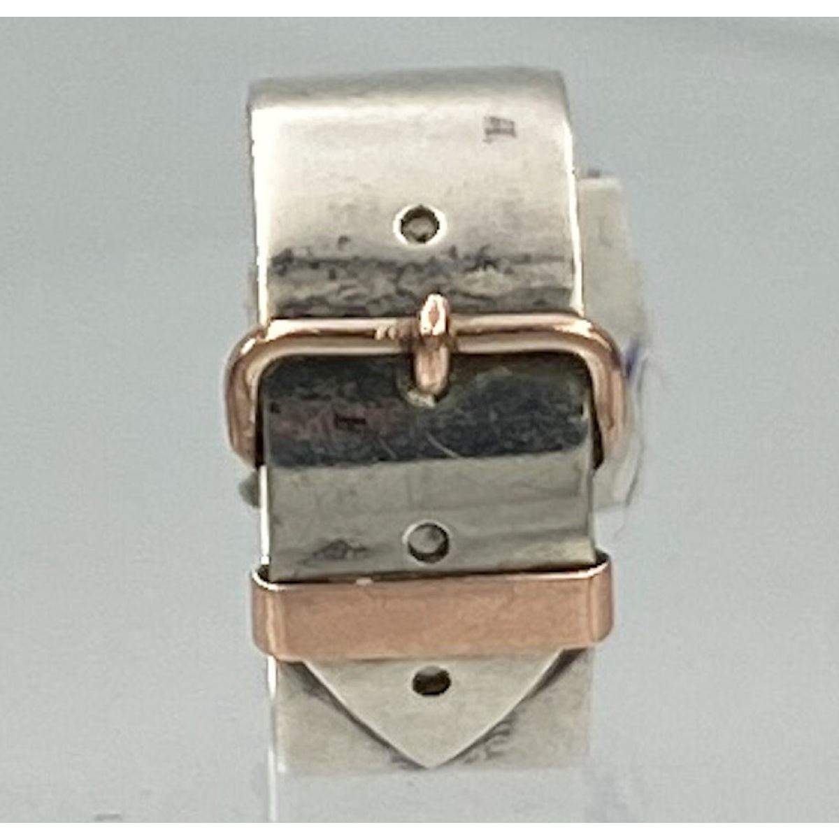 Very Best Antique English Silver Buckle Ring with Gold Accents