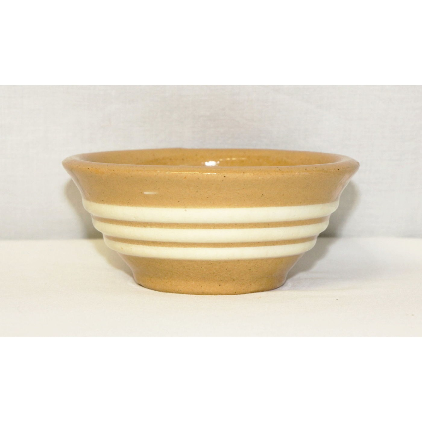 Tiny 3 White Band Rich Yellow Yellowware Bowl
