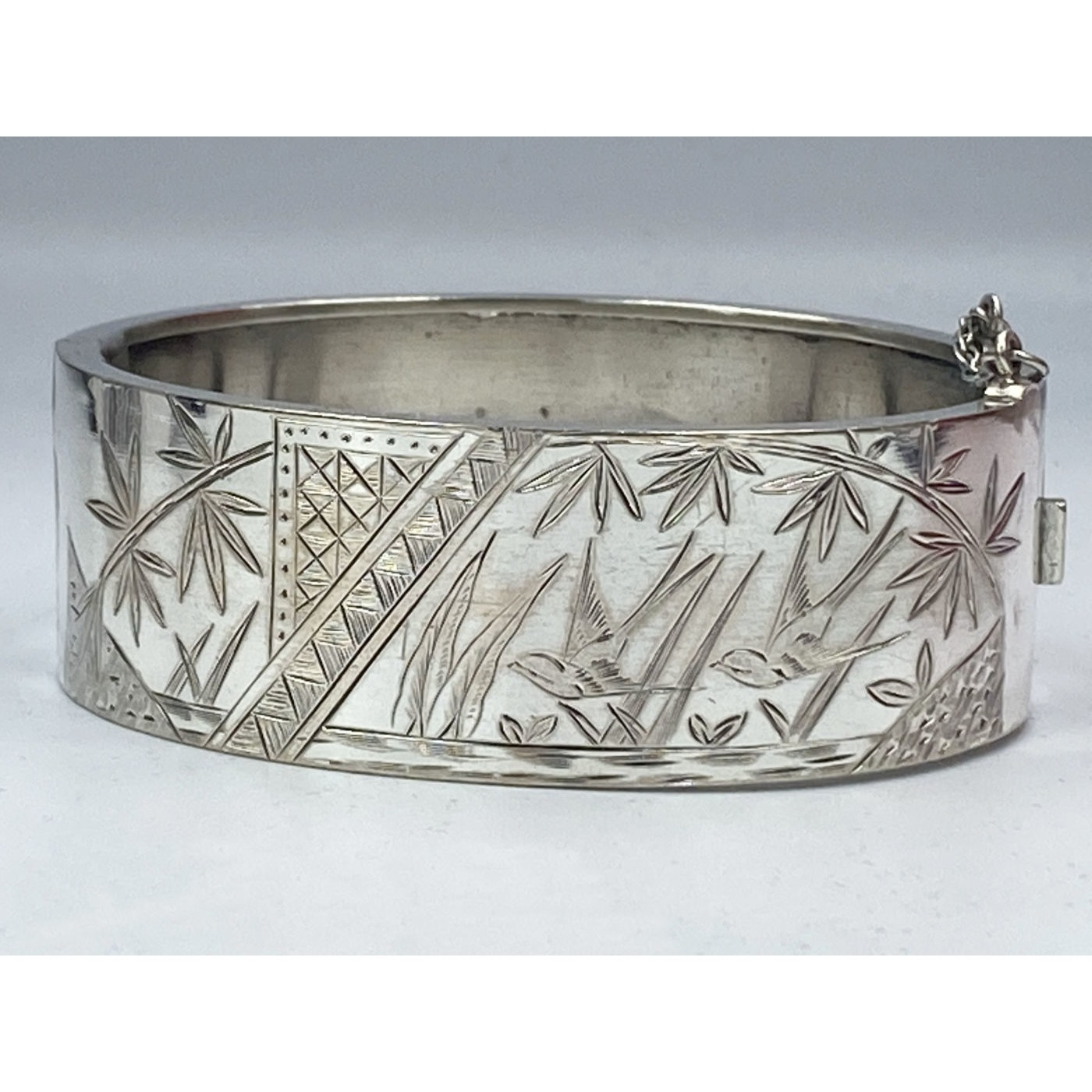 Stylized Birds and Trees, I Will Return Motto, Antique English Silver Bangle