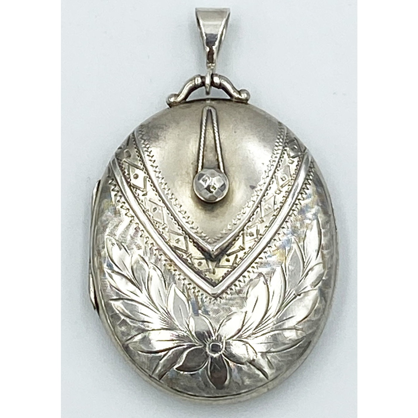 Lovely Corset Floral Engraved Antique English Silver Locket