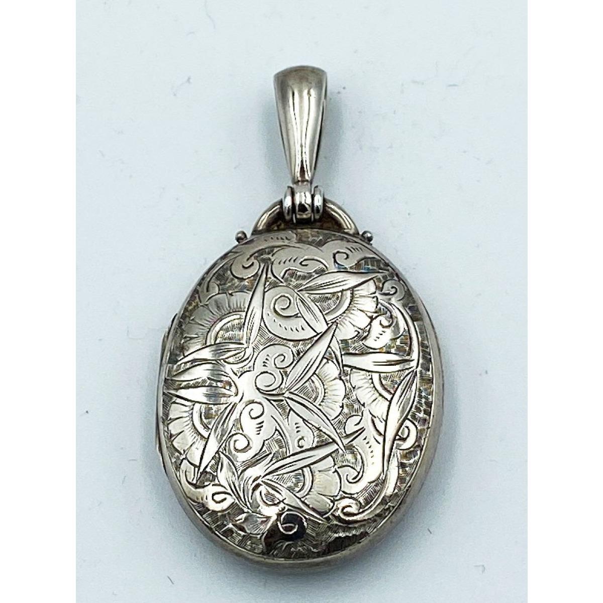 Interesting Artistic-Interpretted Floral Engraved Antique English Silver Locket
