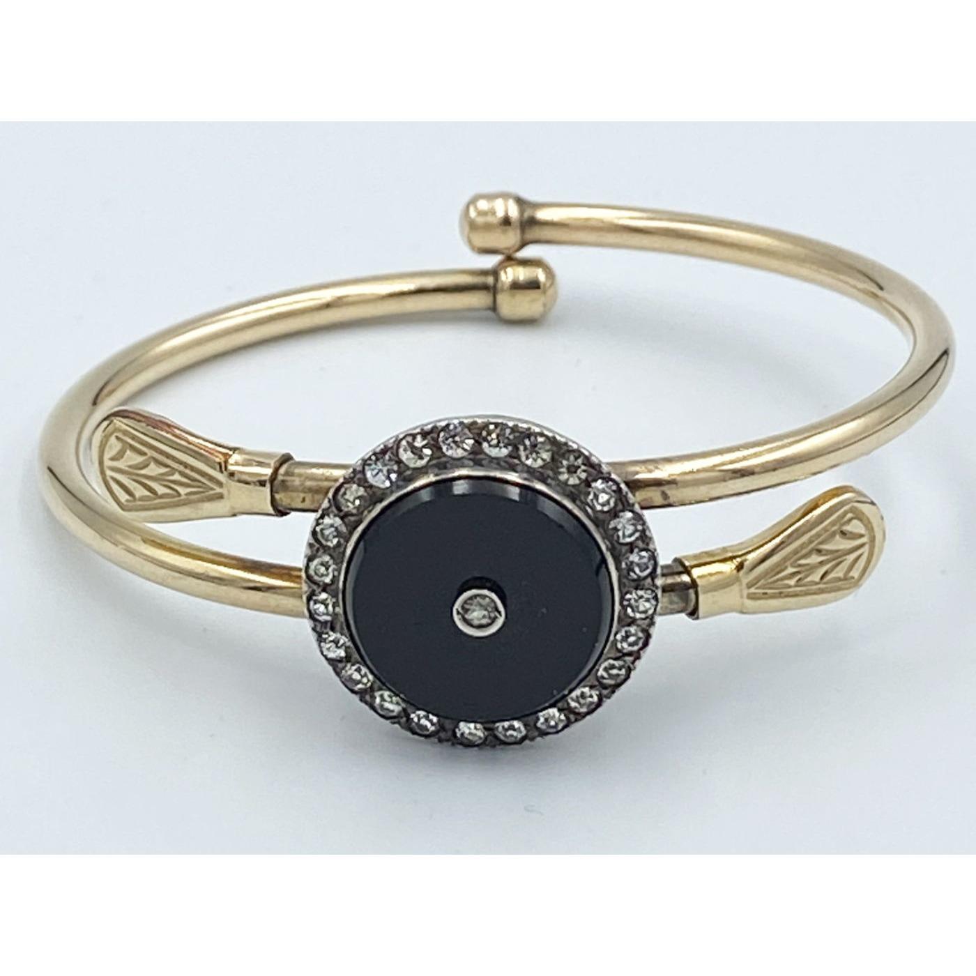 Central Black Stone Gold-filled Bypass Bracelet