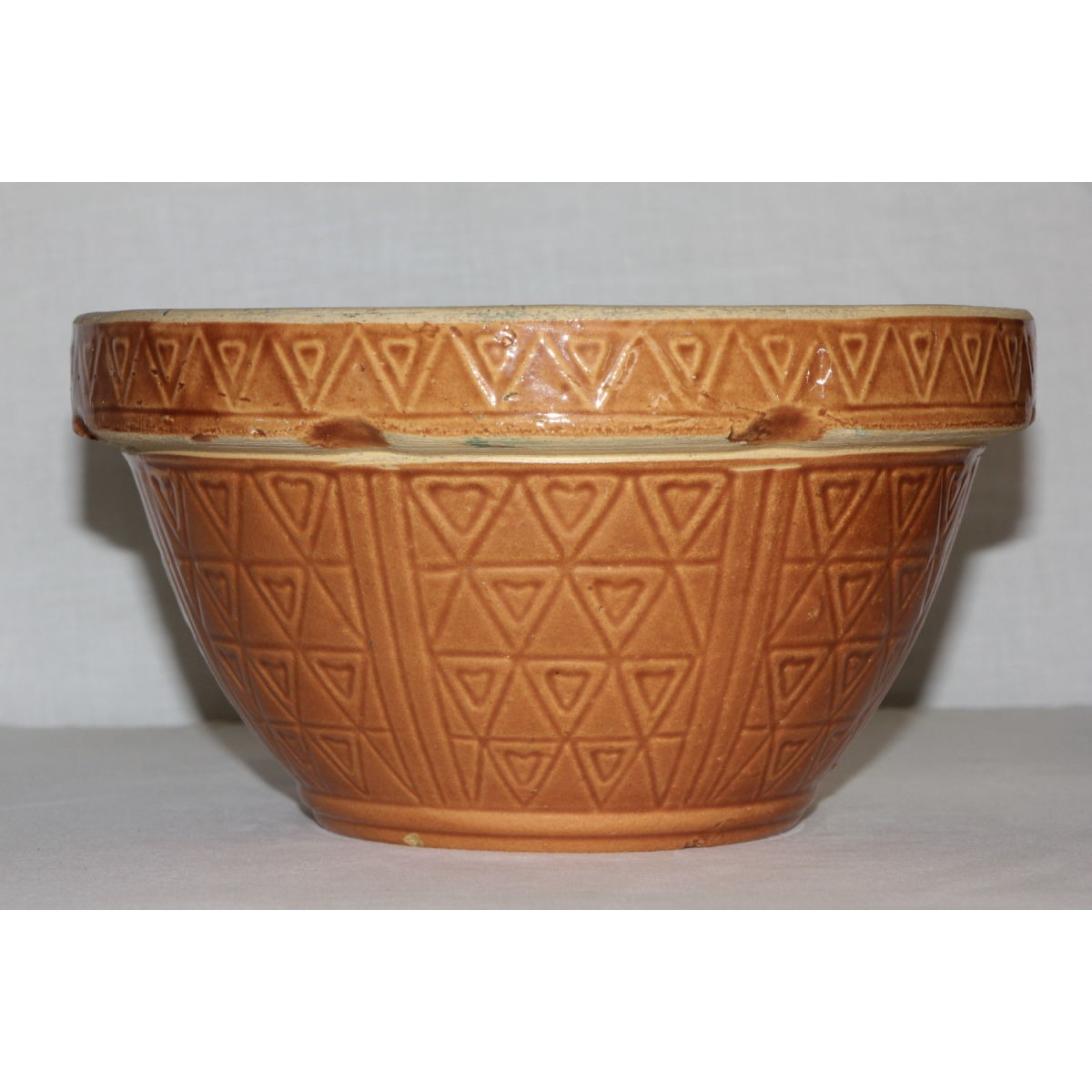 Hearts and Triangles Pumpkin Glazes Yellowware Bowl