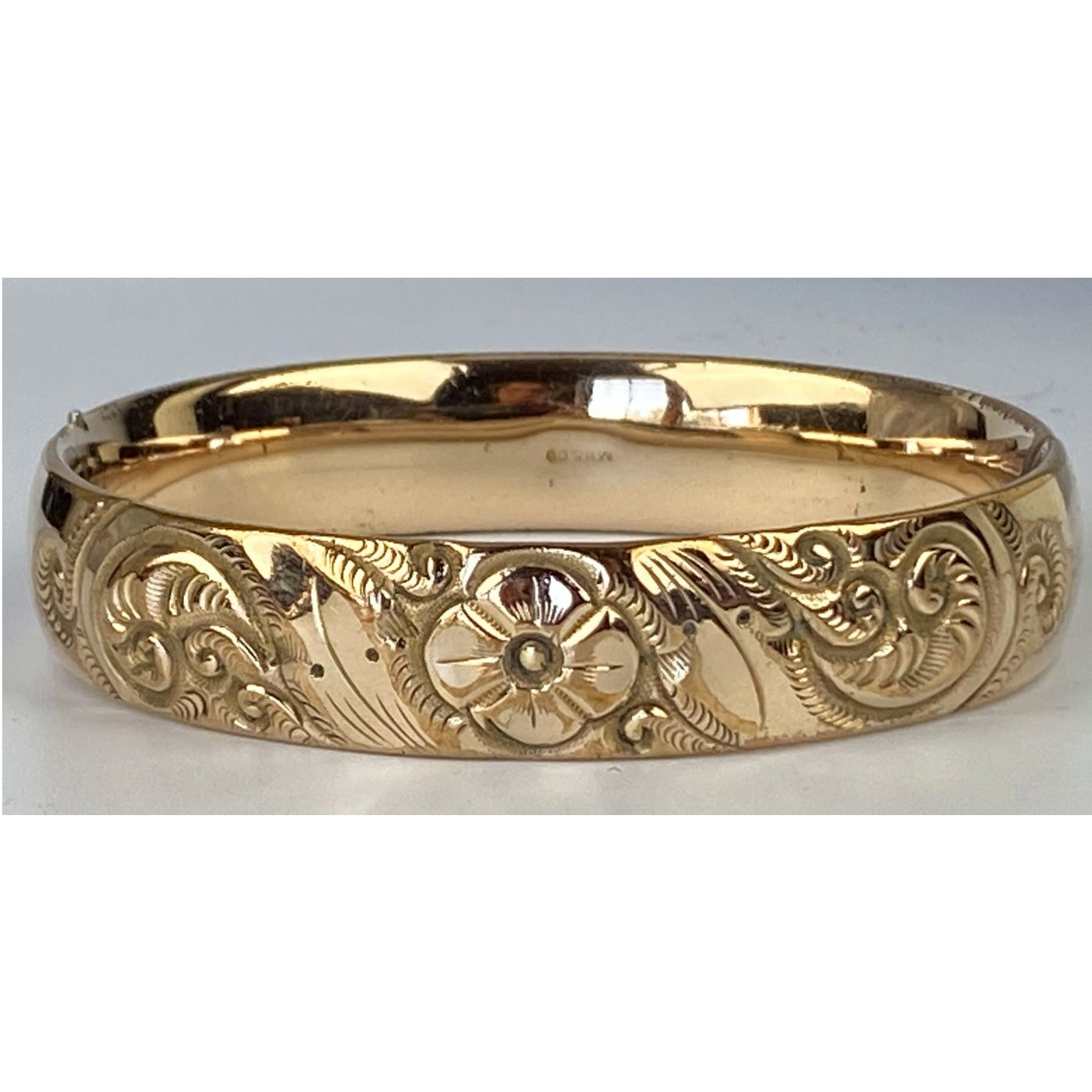 Deeply Engraved Floral Engagement Bangle