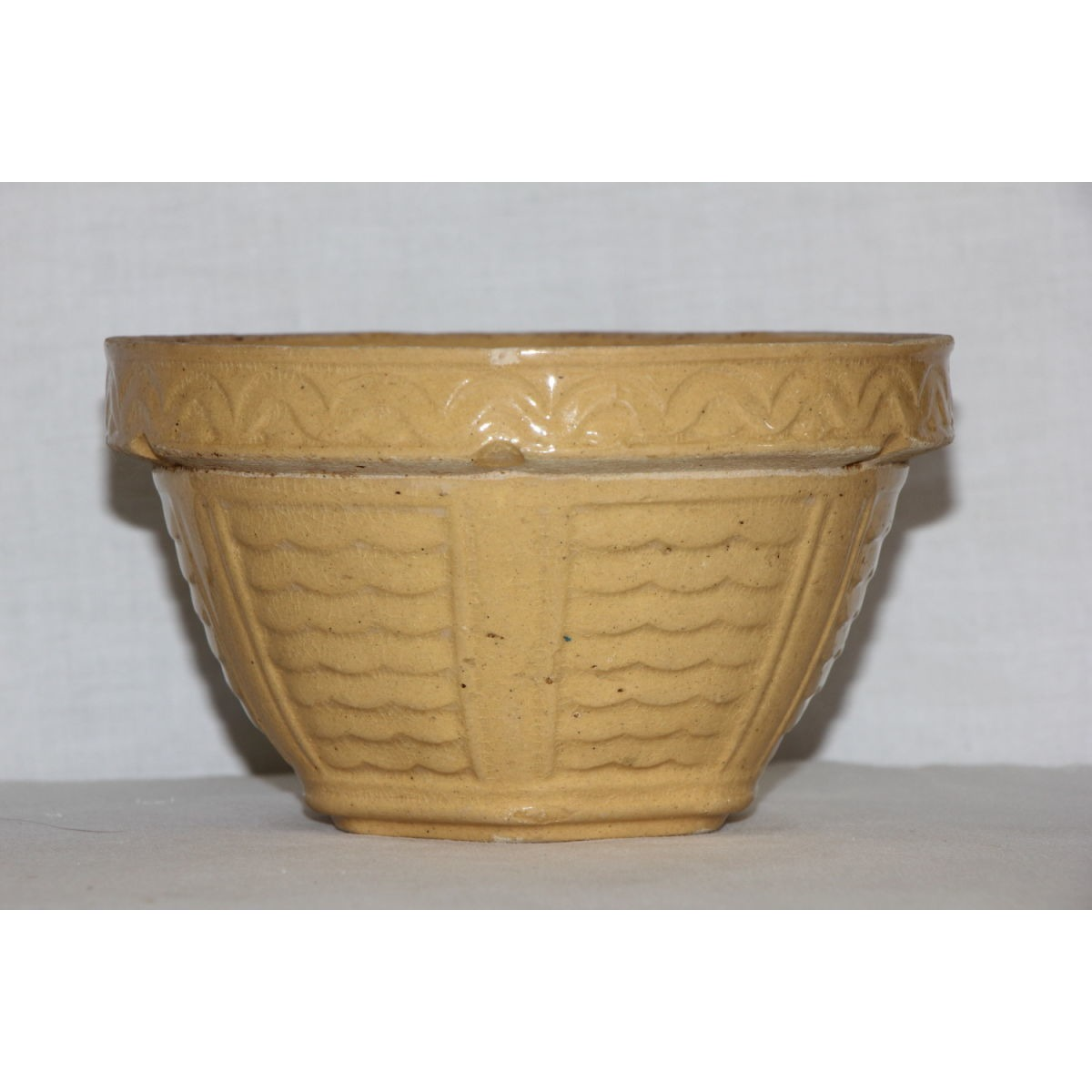 "Unusual Yellow not Green-Glazed 6"" Waves and Bars Bowl"