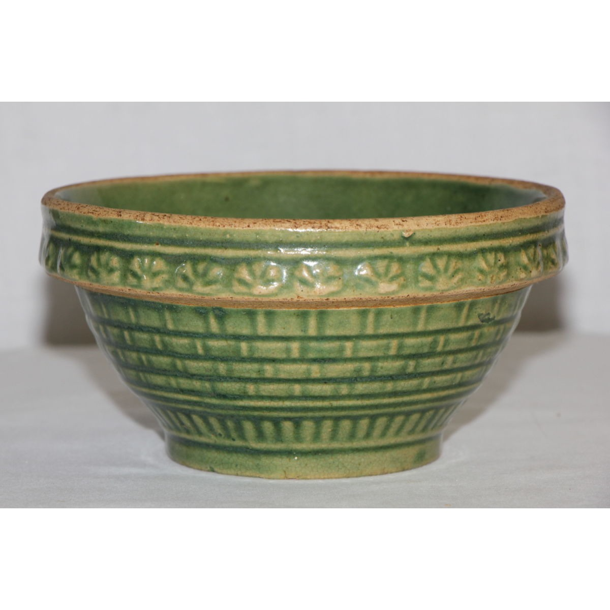"Fabulous 5"" Green Glazed Scarce Shell and Brick Wall Bowl"