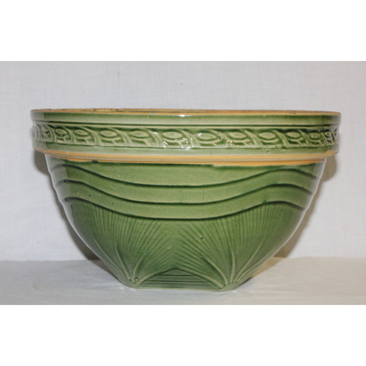 "Green Glazed 10.5"" Yellowware Sunrise Bowl"