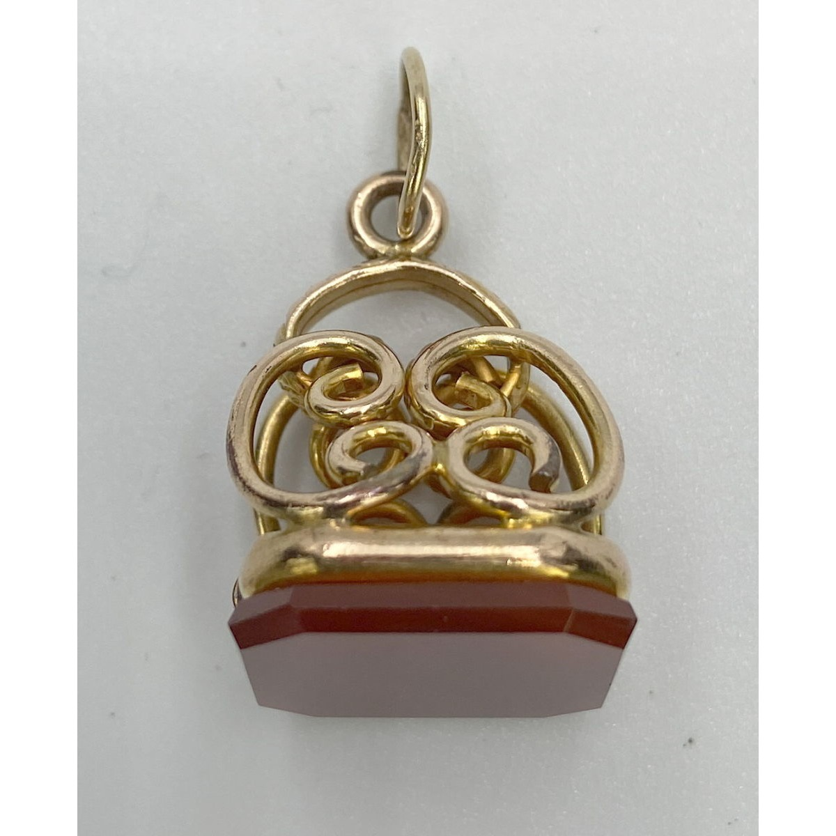 Dimensional 14Kt Gold Framework Antique English Watch Fob - Carnelian