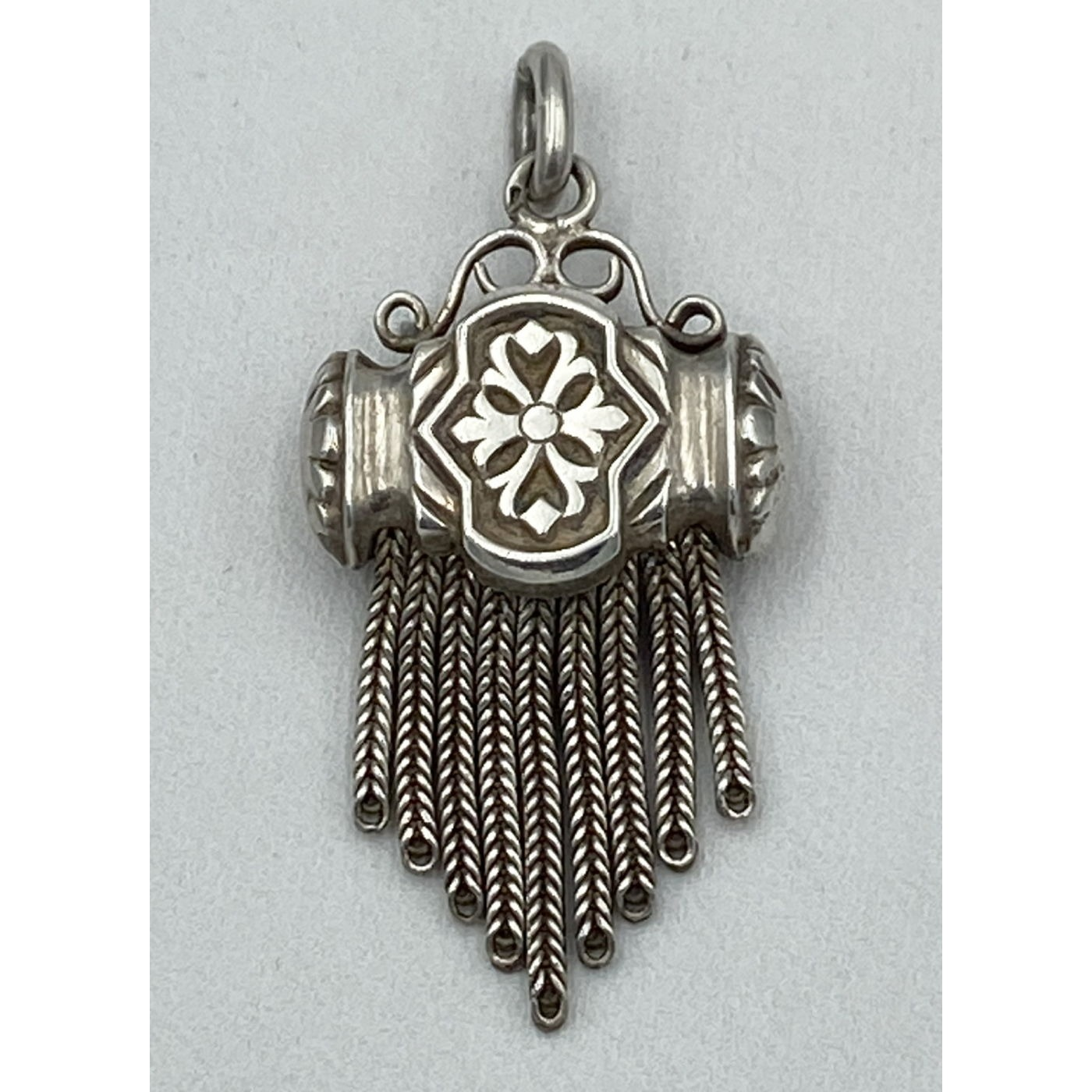 Lovely Flowing Wide English Silver Tassel Pendant Fob