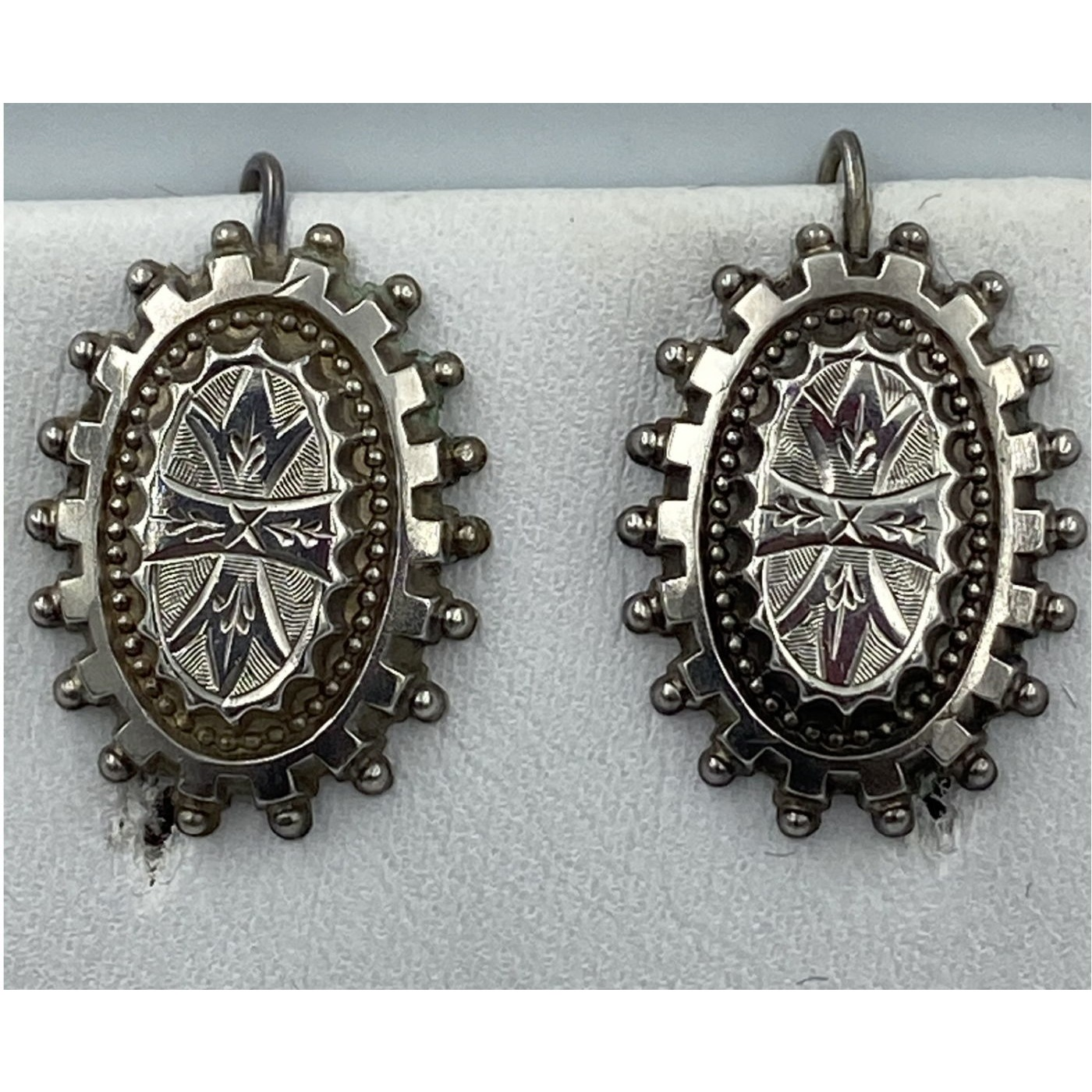 Beaded Edge English Sterling Silver Victorian Antique Earrings