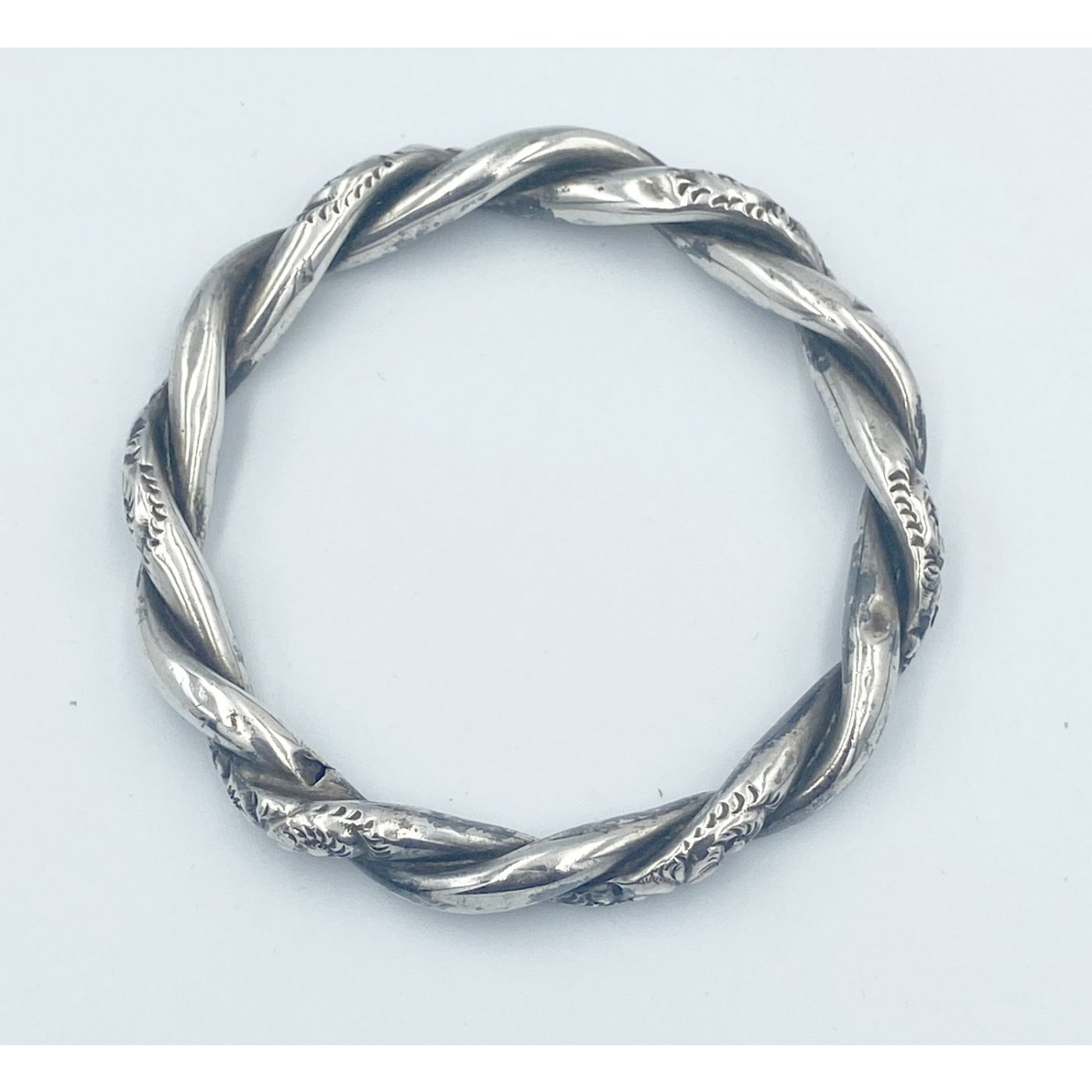 Outstanding Slightly Larger Sterling Silver Twist Bangle