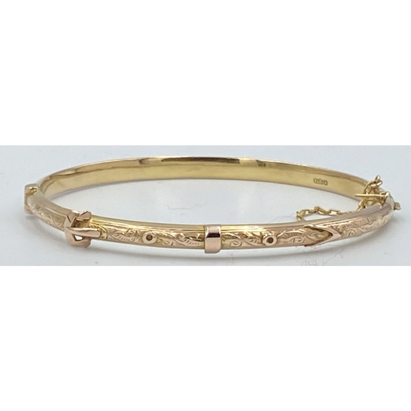 Exceptional Narrow GOLD Buckle Bangle