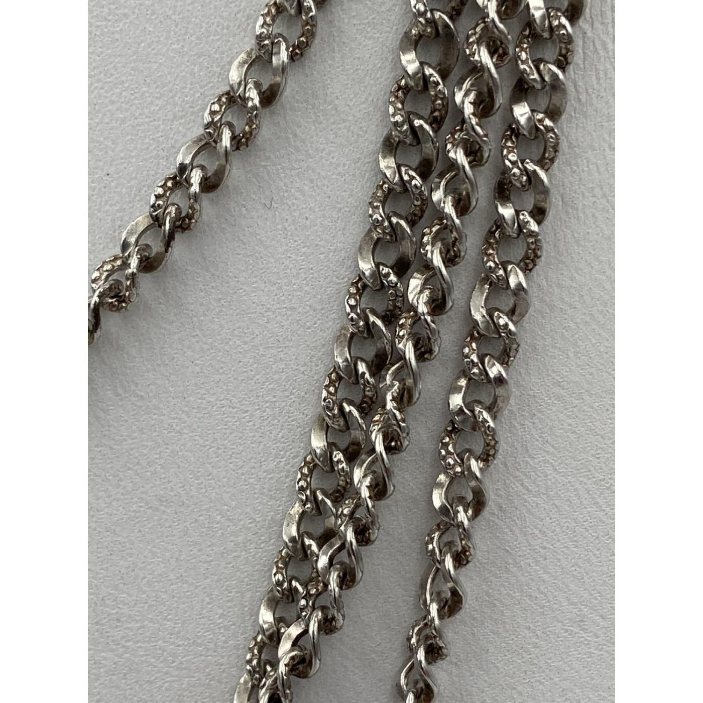 "Brilliant Cut Sterling Silver Victorian 56"" Long Chain"