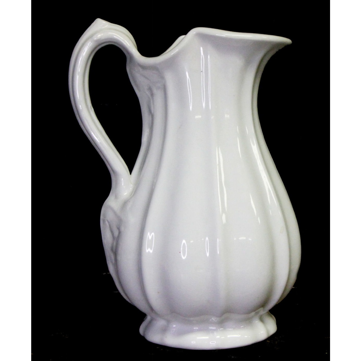 Wide Fluted w/ Leaves Tall Ironstone Ewer Pitcher