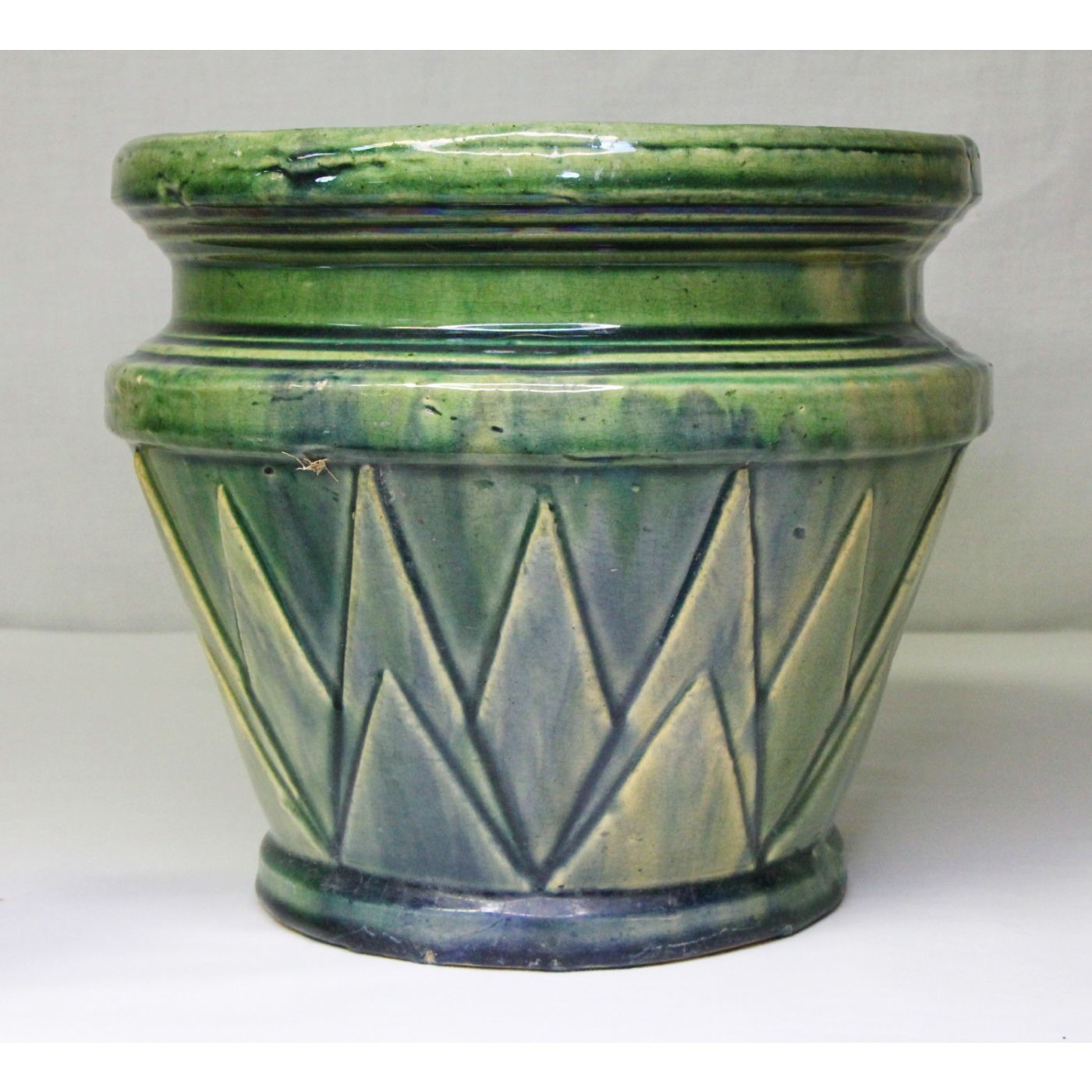 Fabulous Blended-Glaze Green and Blue Jardiniere