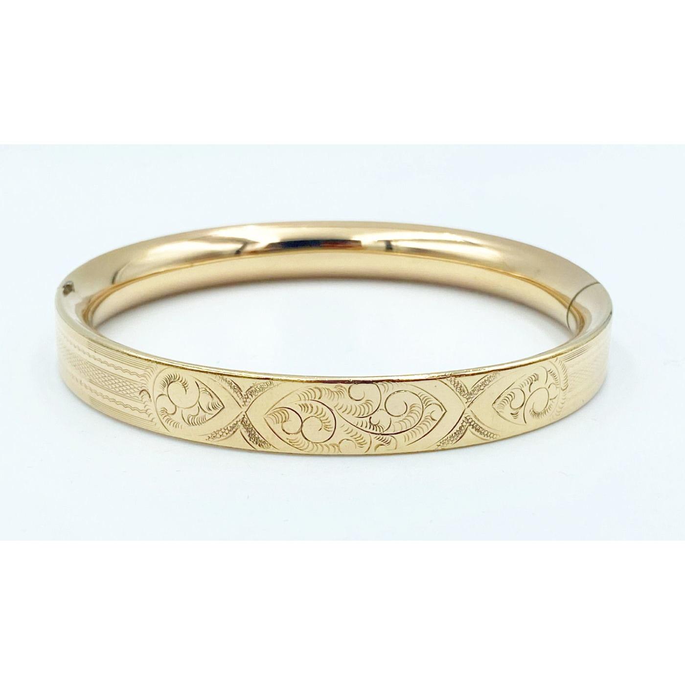 Squared-Off Lightly Engraved Gold-Filled Engagement Bangle