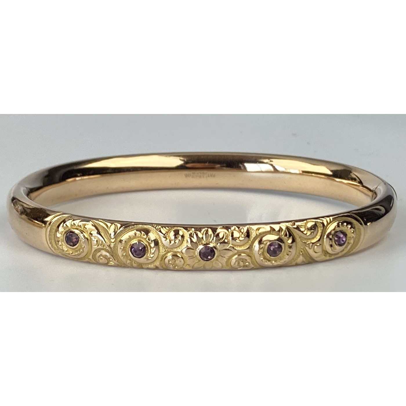 Stunning Deeply Engraved Engagement Bangle with Five Lavender Stones