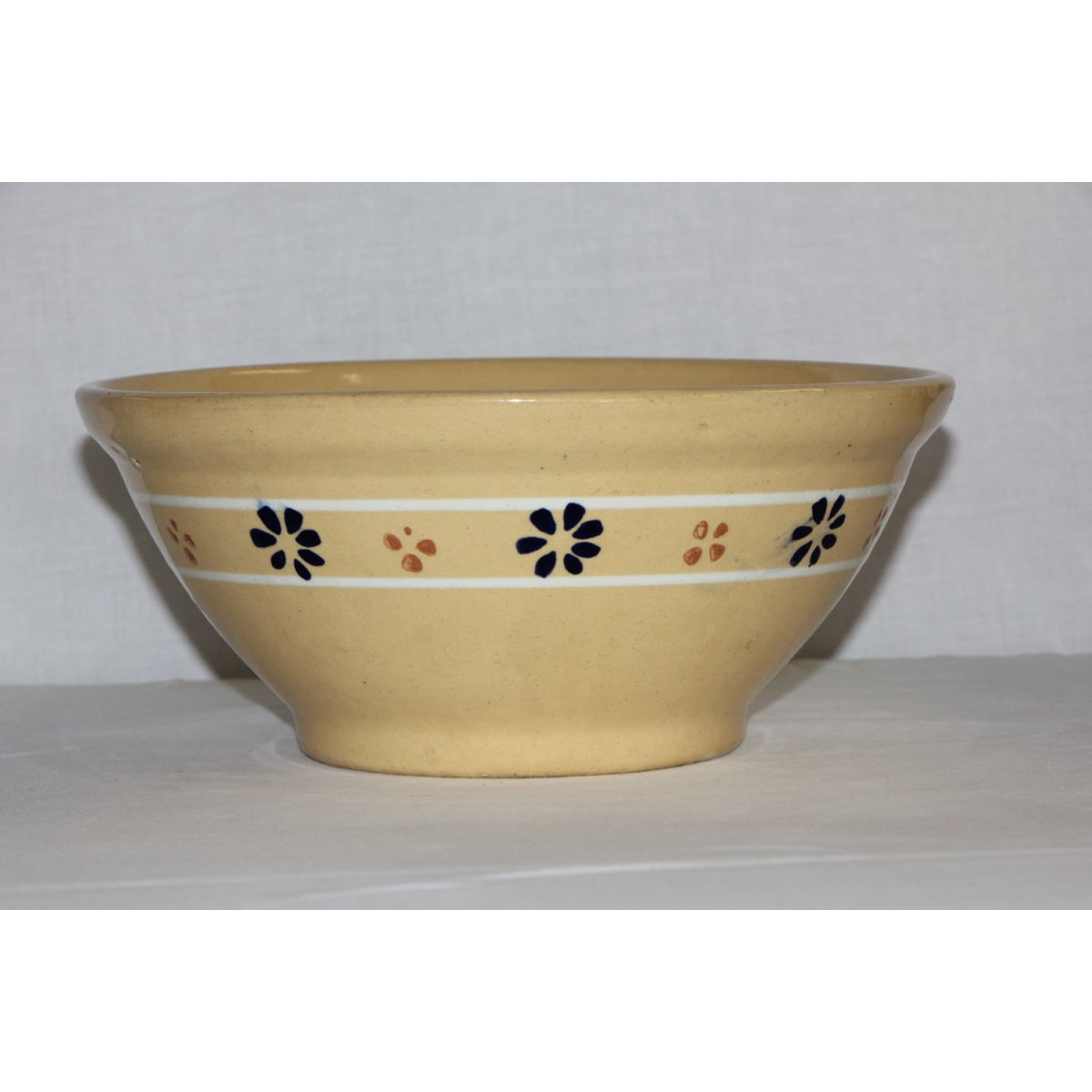 Unusual Slip Dot Flower Decorated Yellowware Bowl