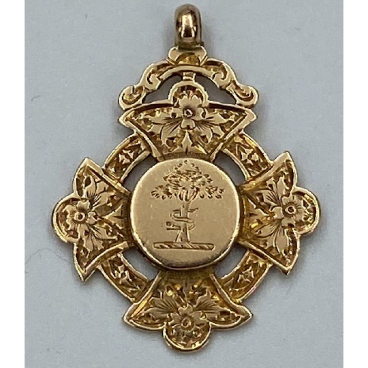 Lovely Antique English Gold Medal Fob - Birthday Present