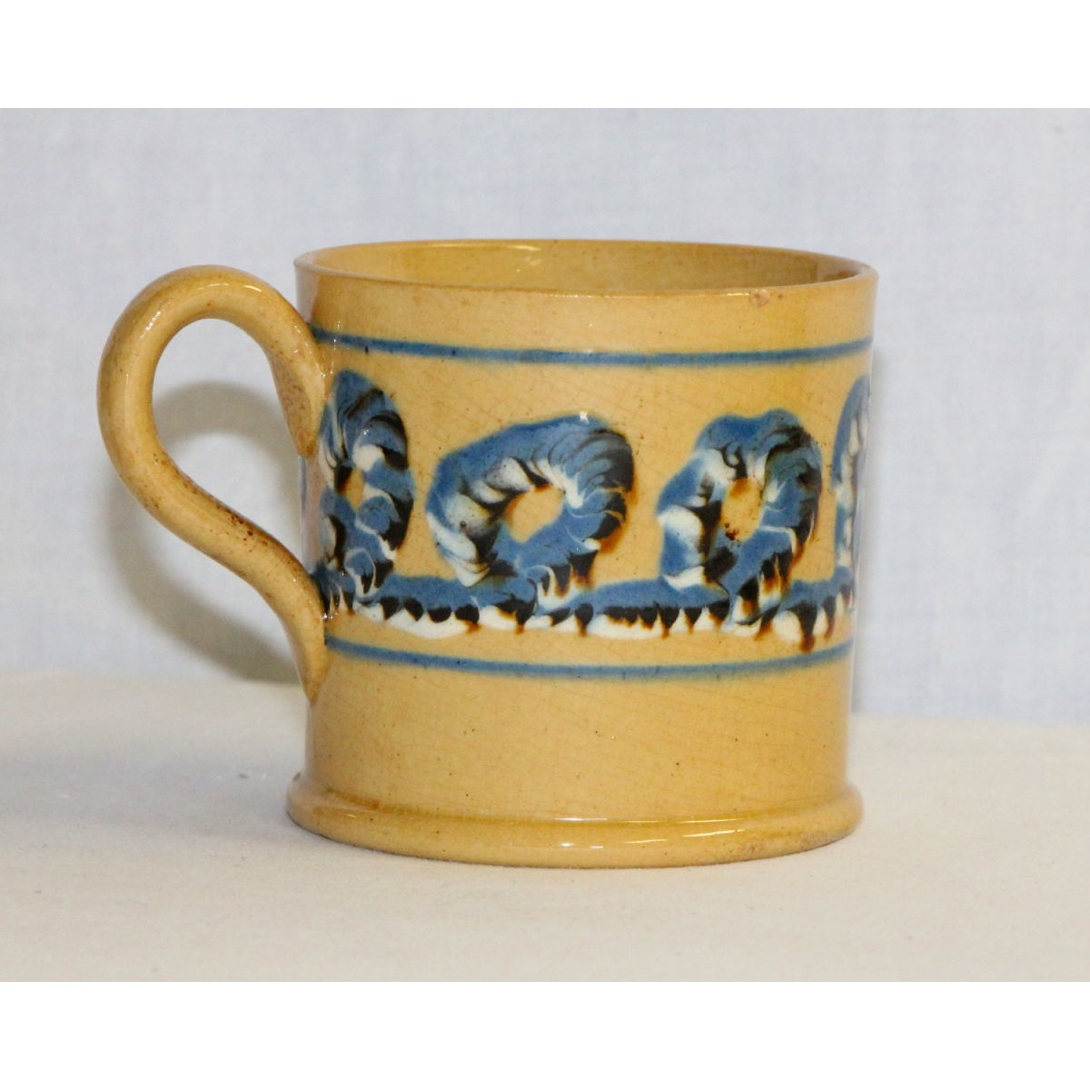 Extraordinary Rare Yellowware Earthworm Mochaware Mug