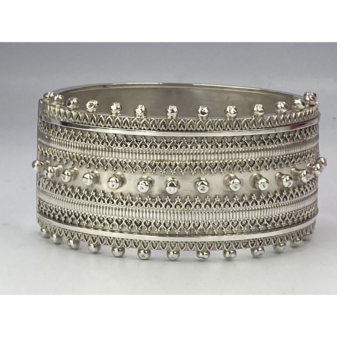 Larger English Silver Bangle with Beading and Wirework