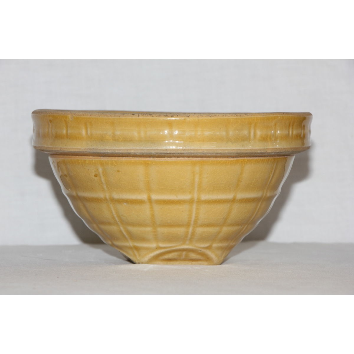 "Summery Yellow 6"" McCoy Windowpane Yellowware Bowl"