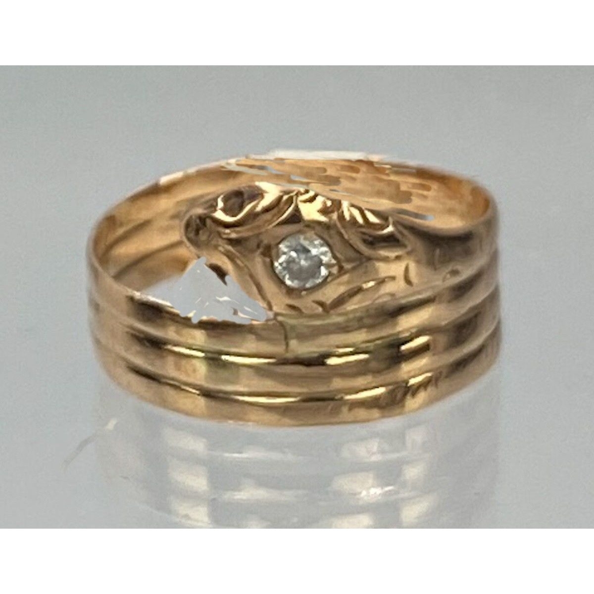 Coiled Snake Eternal Love Antique English Gold Ring Diamond Head