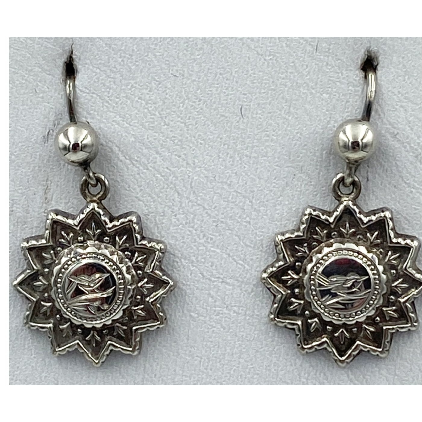 Stunning Star-shaped Sterling Silver English Victorian Earrings - Birds - Swallows