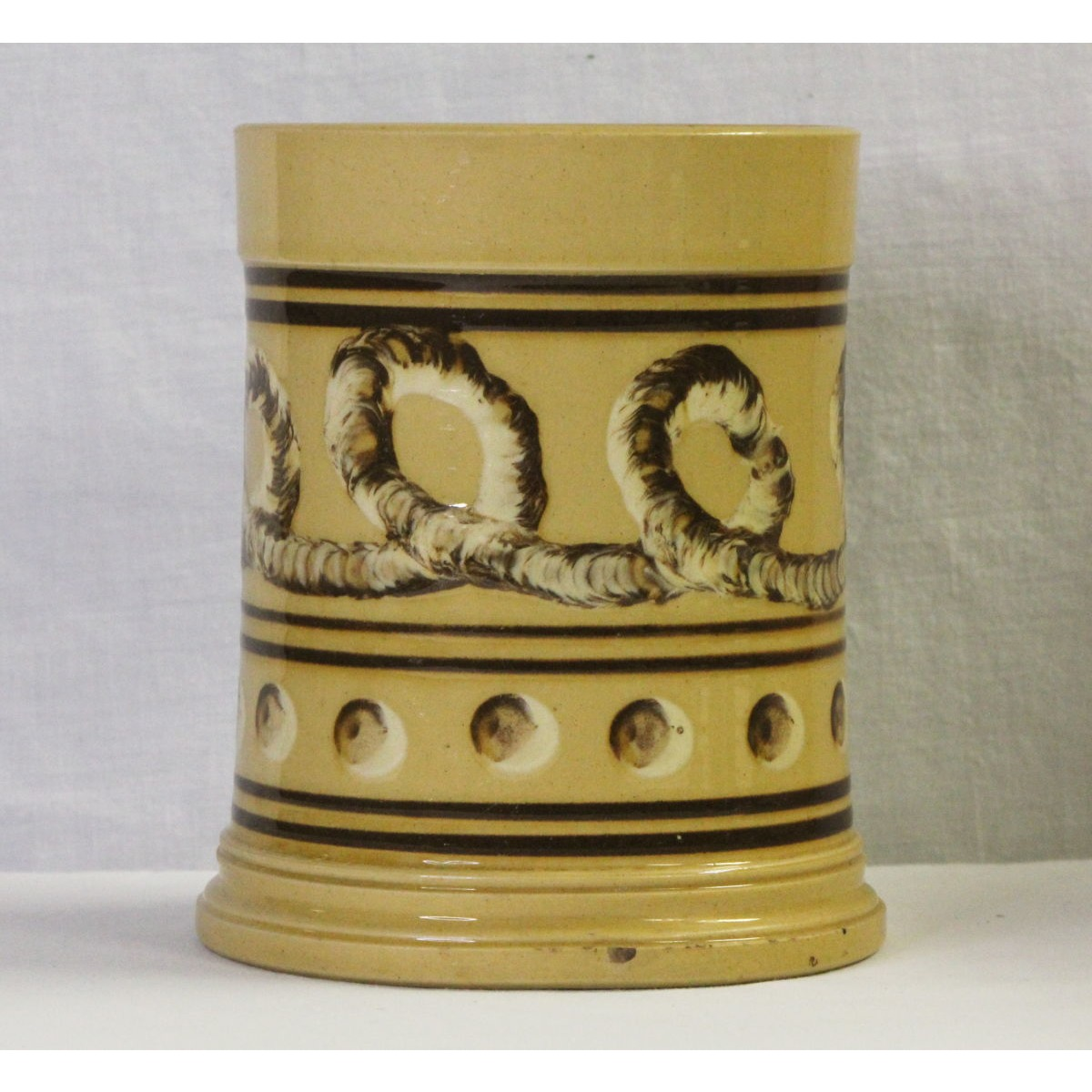 Extremely Rare Earthworm and Cats's Eye Decorated Yellowware Canister - Rare Form