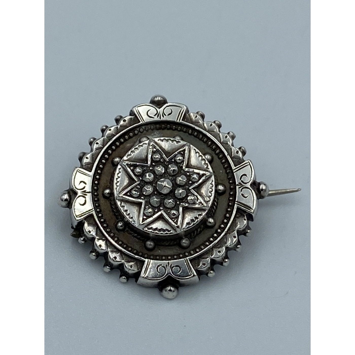 Cut Steel Studded Star Focus Round Victorian English Silver Pin