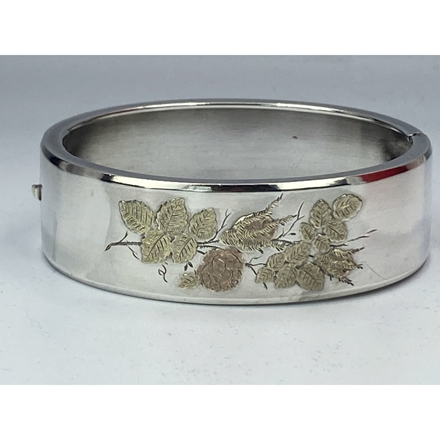 Incredible Stackable Rose and Yellow Gold Floral Antique English Silver Bangle