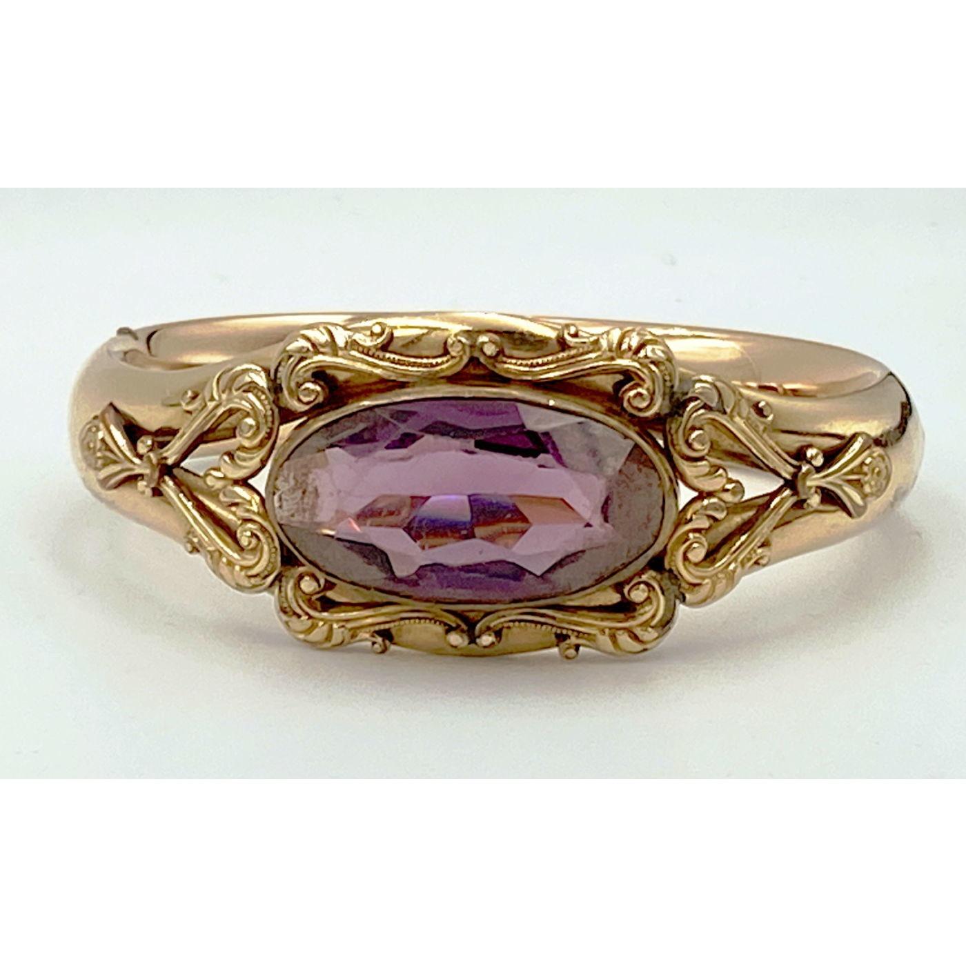 Prettiest Center Purple Stone Larger-Than-Average Engagement Bangle