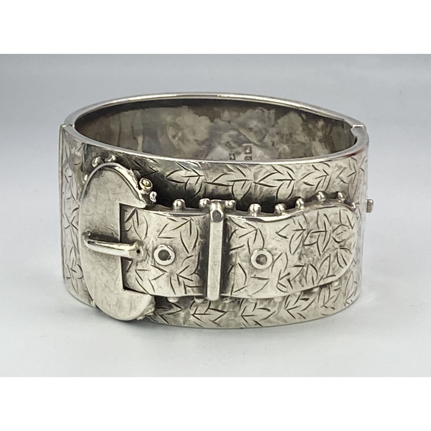 Wide Traditional English Silver Buckle Bangle