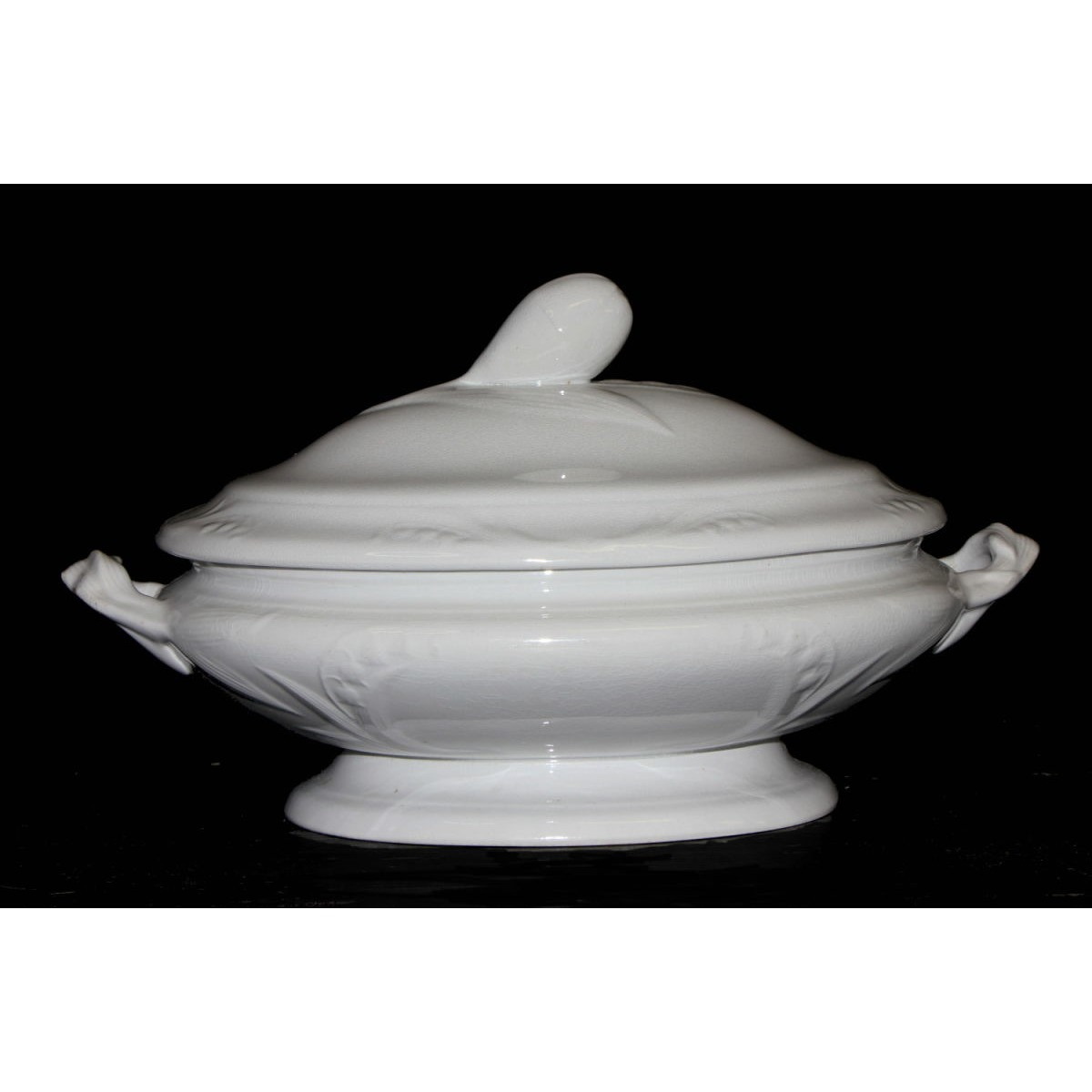 Simply Decorated Floral Hyacinth or Lily Shape Ironstone Vegetable Tureen
