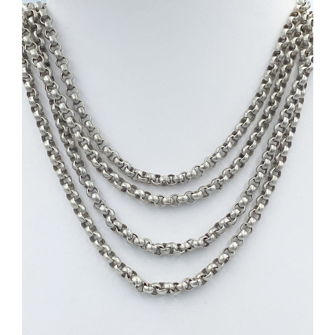 """Incredible 64"""" Long Sterling Silver English Muff Rolo Chain"""