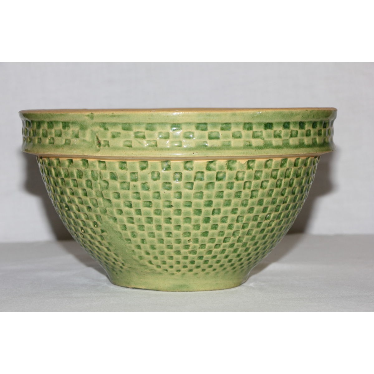 "Rare 7"" Green Glazed Yellowware Checkerboard Bowl"