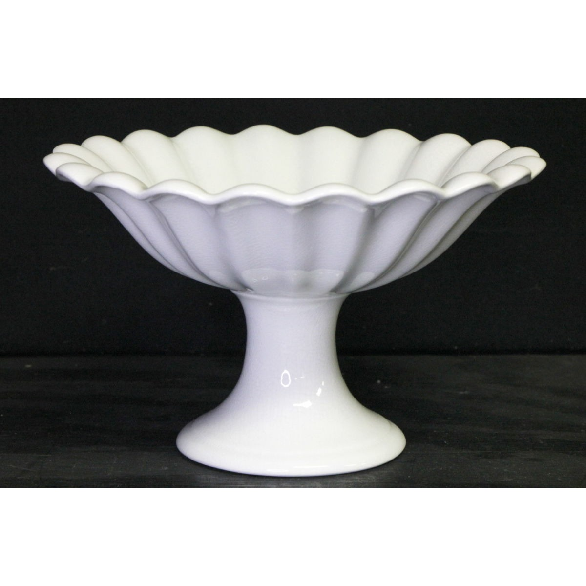 "Tall Fluted Ironstone 8"" diameter Compote"