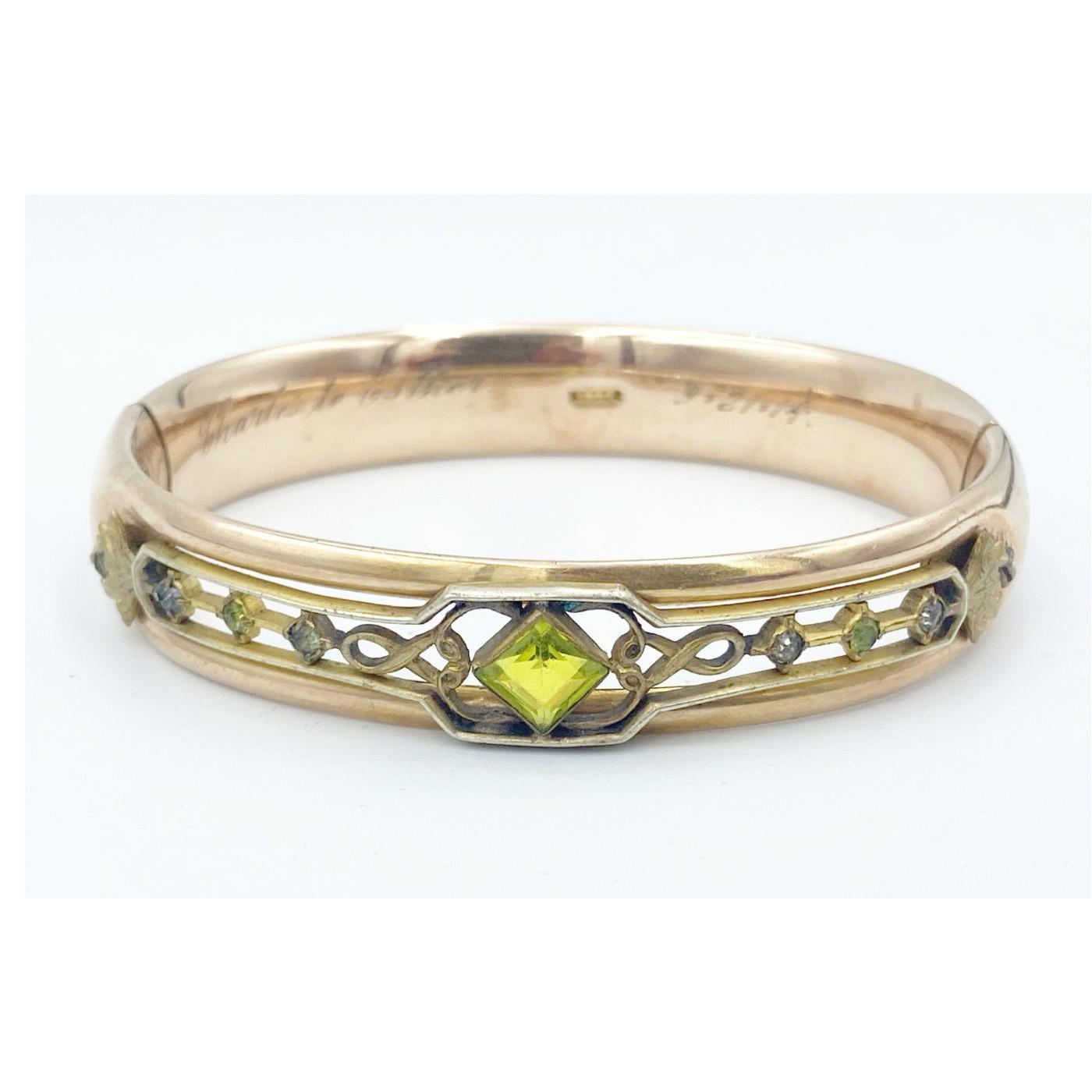 Unusual Lime Green Central Stone Engagement Bangle Bracelet