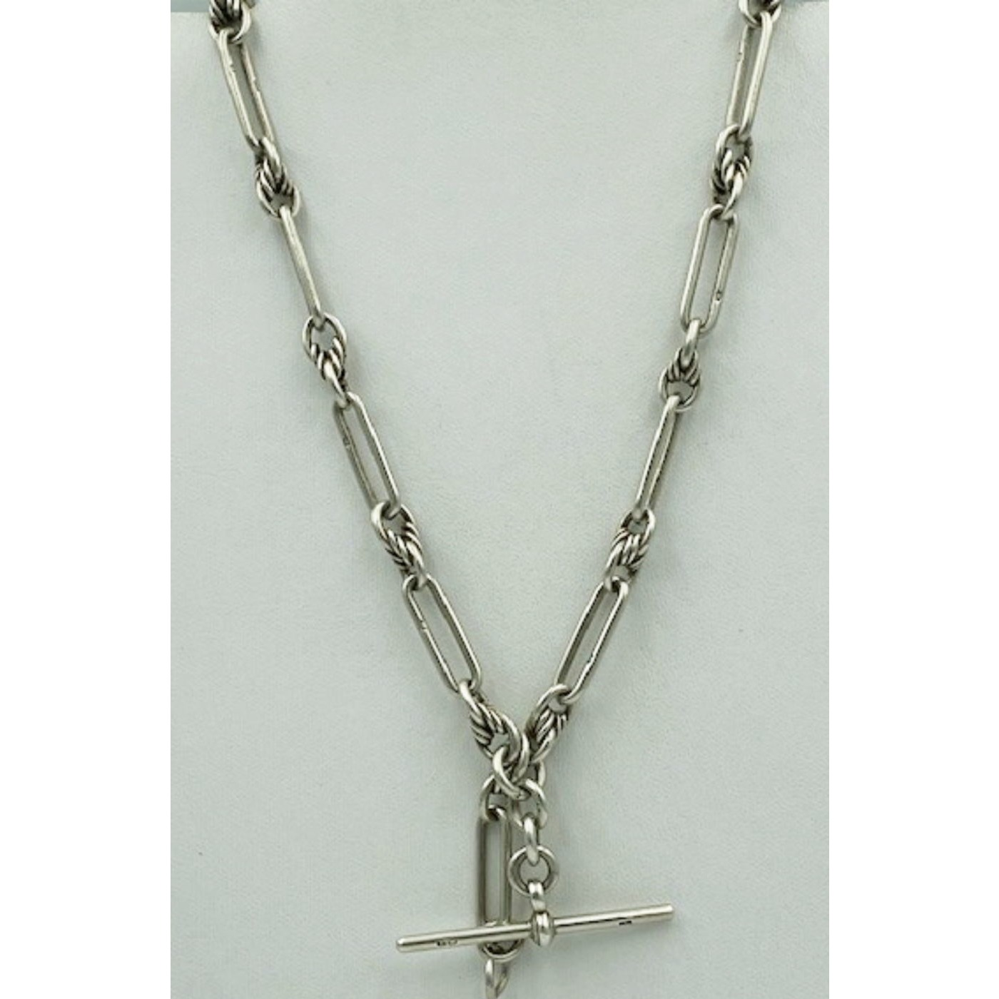 Exceptional English Silver Trombone Link Watch Chain w/ Love Knot