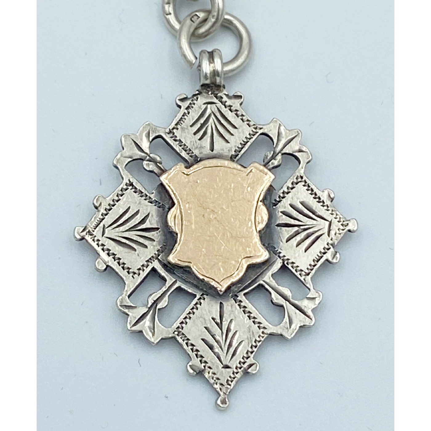 Beautiful Silver English Medal with Gold Center