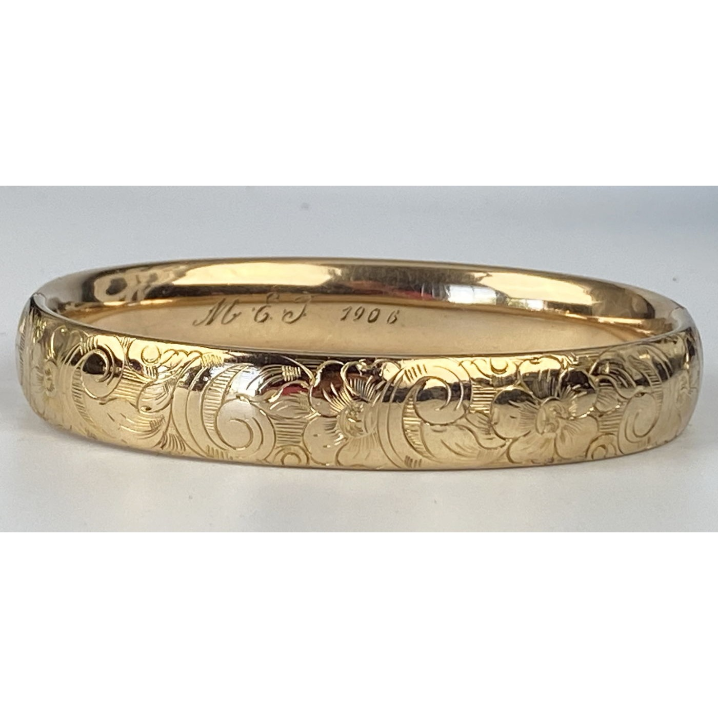 Larger Wrist All Around Floral Scroll Engagement Bangle