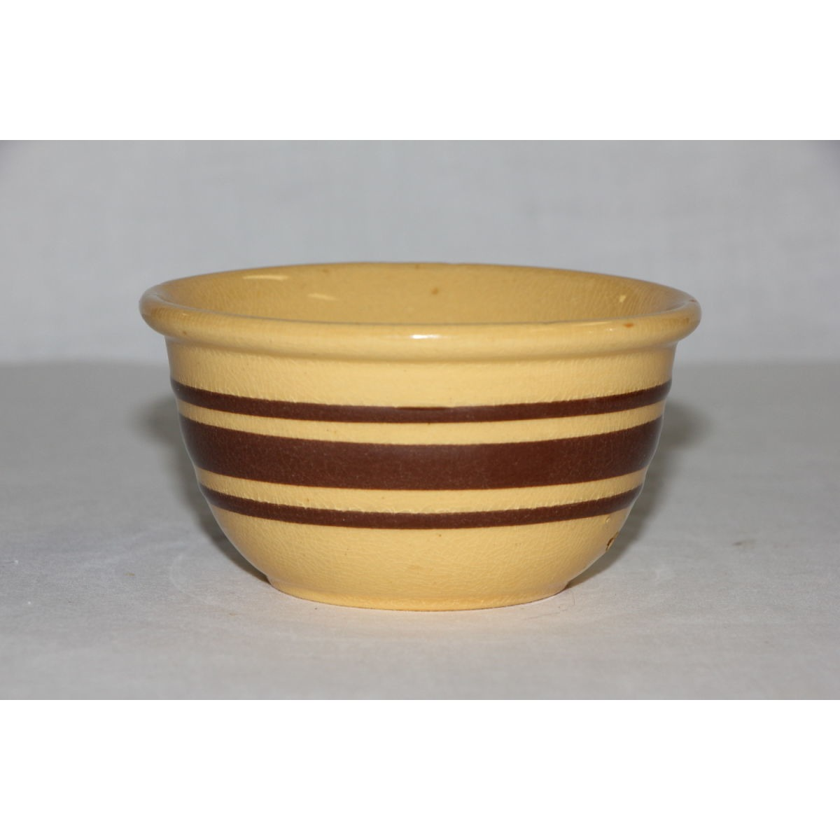 Tiny Salesman Sample Brown Banded Custard Cup Yellowware Bowl