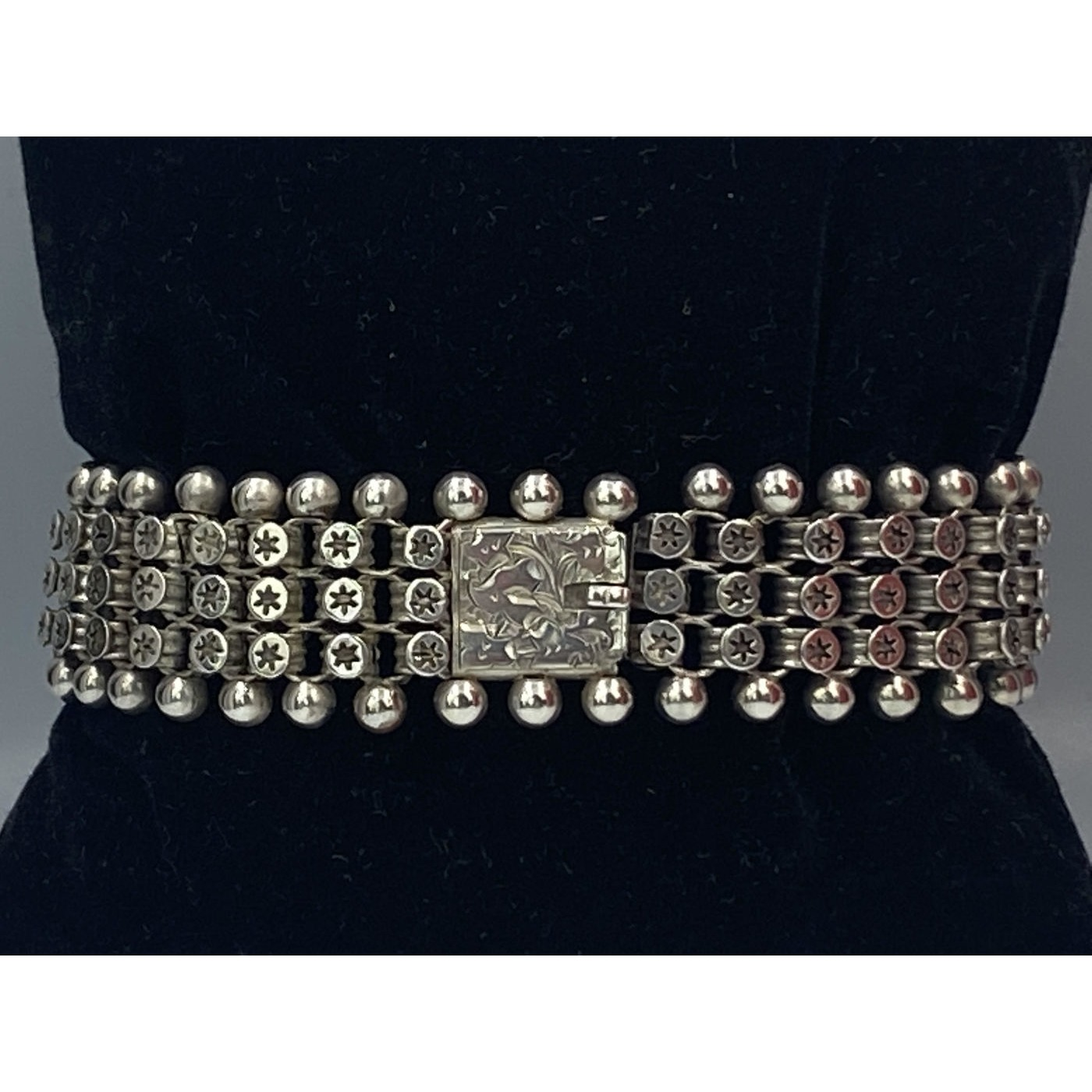 Spectacular, Multi-Row Star Link Antique English Bracelet with Exterior Balls