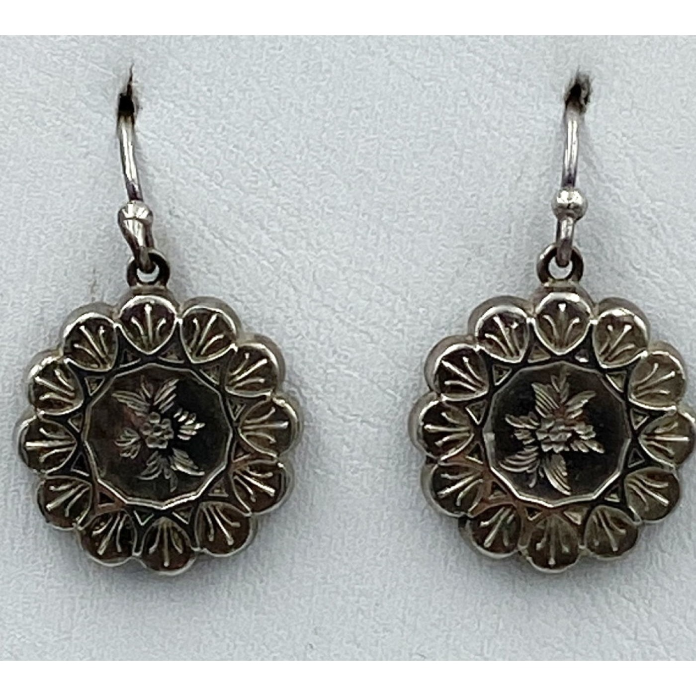 Victorian Flower Medallion Antique English Earrings