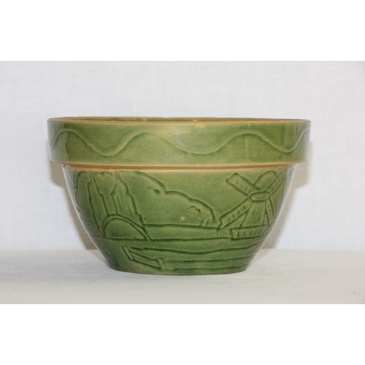 "Green Glazed 6"" Farm Scene Yellowware Bowl - Scarce Pattern"